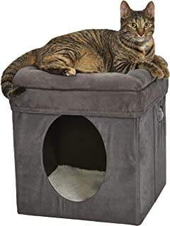 New World Cat Cube with Cat Bed Topper, 15.5L x 15.5W x 16.5H, Gray