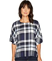 TWO by Vince Camuto Ruffled Short Sleeve Relaxed Broken Plaid Tee