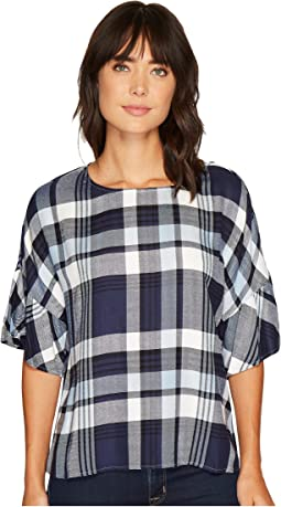 TWO by Vince Camuto - Ruffled Short Sleeve Relaxed Broken Plaid Tee