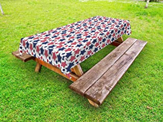 Lunarable 4th of July Outdoor Tablecloth, Patriotic Stars Pattern with Old Glory Theme Independence Day Illustration, Decorative Washable Picnic Table Cloth, 58