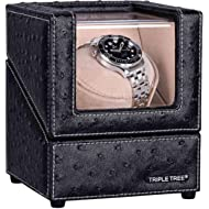 TRIPLE TREE Watch Winder with Flexible Plush Pillow, in Wood Shell and Black Leather, Japanese...