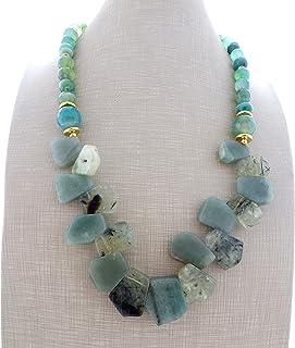 Collana con avventurina verde, prehnite e agata sfaccettata, collana con pietre naturali, gioielli contemporanei, bijoux m...