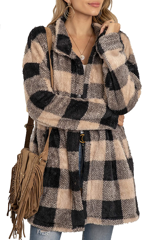 UANEO Womens Casual Plaid Sherpa Fleece Long Sleeve Mid Long Jackets Coats(Khaki-XL)