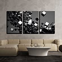 wall26 - 3 Piece Canvas Wall Art - a Black Cubes Abstract Background - Modern Home Decor Stretched and Framed Ready to Hang - 24