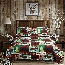 Oliven Lightweight Summer Lodge Moose Bear Quilt Set King Size Rustic Cabin Bedspreads Christmas Tree Eagle Bear Paw Pine ...