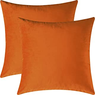 Mixhug Set of 2 Cozy Velvet Square Decorative Throw Pillow Covers for Couch and Bed, Orange, 18 x 18 Inches