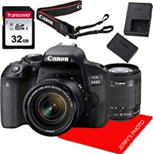 Canon EOS 800D / Rebel T7i DSLR Camera w/Canon EF-S 18-55mm F/4-5.6 is STM Zoom Lens + 32GB Memory Bundle (8pcs)