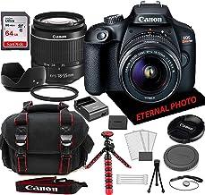 Canon EOS Rebel T100 Cámara réflex digital con lente de zoom Canon EF-S 0.709-2.165 in, tarjeta de memoria de 64 GB, estuche de cámara (20 unidades)