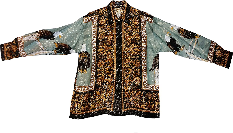 Men's Metallic Silk Online limited product Shirt Eagles Design Color Gray Ranking TOP4 Dark