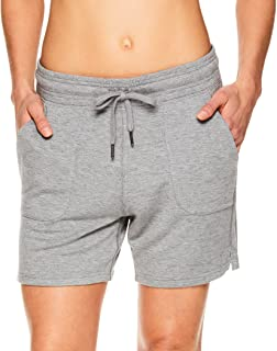Gaiam Women's Warrior Yoga Short - Bike & Running Activewear Shorts w/Pockets - Flint Grey Heather Warrior, Medium