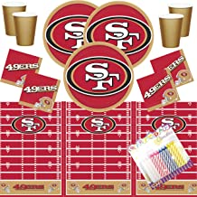 San Francisco 49ers NFL Football Team Logo Plates Napkins Cups and Table Cover Serves 16 with Birthday Candles (Bundle for 16)