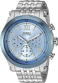 GUESS Stainless Steel Sky Blue Chronogaph Bracelet Watch. Color: Silver-Tone/Sky Blue (U1104G4)