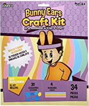 KINREX Easter Day Craft Kit - Paper Bunny Ears Crafts for Kids - Makes 4 Bunny Headbands - 34 Pieces