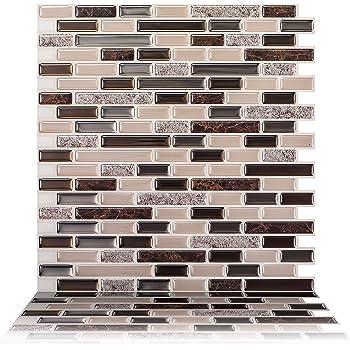 """Tic Tac Tiles 5-Sheet Peel and Stick Tile Backsplash, Stick on Backsplash Tile, 12""""x12"""", Brown Marble Como Crema"""