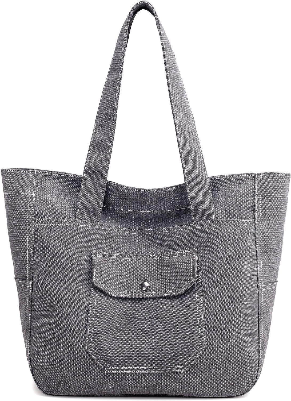 Canvas Shoulder Bag Casual Big Shoppingbags Tote Handbag Work Bag Travel Bags for Women Girls Ladies