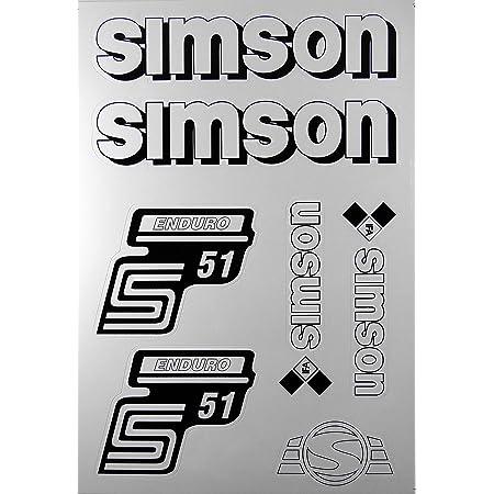Aufkleber Set Simson S51 Enduro Weiß Seitendeckel Tank Bj Handel Auto