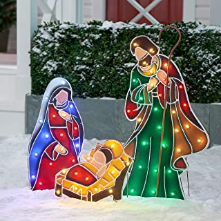 NH Beautiful and Stunning Light-up LED Outdoor 3-Piece Nativity Scene Decoration Set,Includes a Total of 60 LED Lights Pre-Attached to Wire Frames,Ideal Front or Back Yard,Lawn or Garden