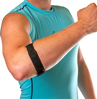 BraceAbility Epicondylitis Brace | Elbow Strap for Medial/Lateral Epicondyle Pain and Tendonitis Arm Compression Support Band for Men or Women (One Size Fits Most)