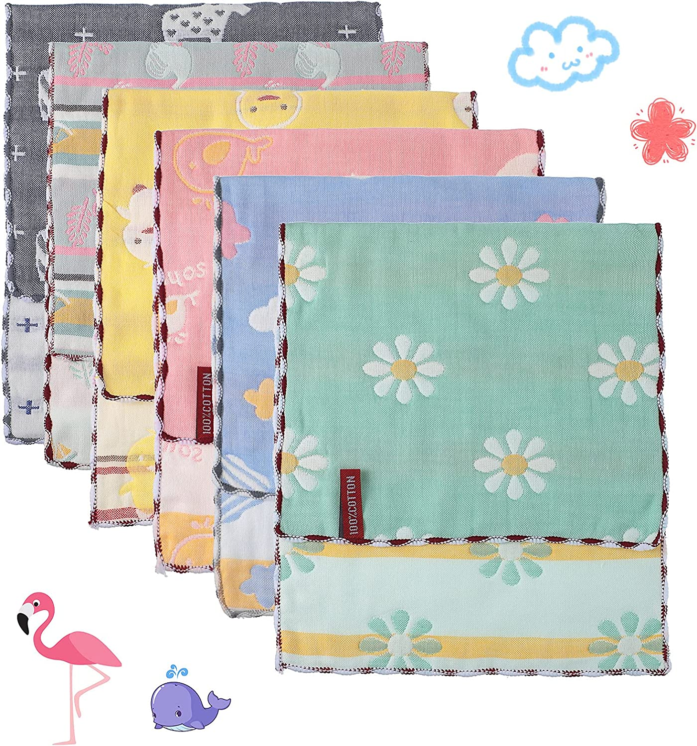 Newwiee Challenge the lowest price of Japan ☆ Easy-to-use 6 Pieces Muslin Baby Cloths Spit Burp Thi Up