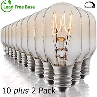 Salt Rock Lamp Bulb 10 Pack + 2 Free 15 Watt Replacement Bulbs for Himalayan Salt Lamps & Baskets, Scentsy Plug-in & Wax Warmers, Night Lights. Incandescent T20 E12 Socket with Candelabra Base, Clear