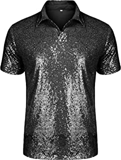 URRU Men's Relaxed Short Sleeve Turndown Sparkle Sequins Polo Shirts 70s Disco Nightclub Party T-Shirts Tops S-XXL