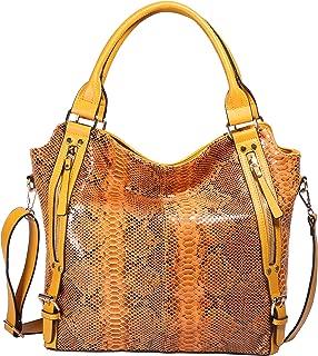 Hobo Shoulder Bag for Women Fashion Tote Top Handle Handbag Faux Leather Two-Tone Python or Leopard Embossed Handbag