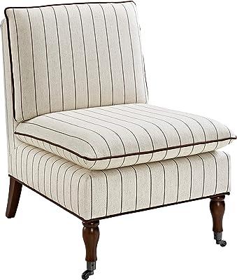 Linon Home Décor Simpson Stripe Pillow Top Slipper Chair, Beige