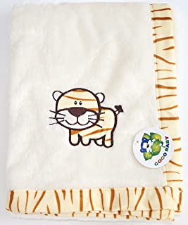 Plush Beige 2 ply PV Unisex Baby Blanket, Embroidery Tiger Design, 30