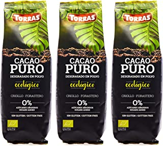 Torras Cacao Puro Ecologico 100% Pure Organic Cocoa Powder, Raw, Defatted, Non-Alkalized (5.3 Ounces Each) 3 Pack