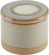 """Stone & Beam Organic-Shape Stoneware Round Box, 3.75""""H, Sage"""