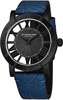 Stuhrling Original Mens Watch Leather Strap - Swiss Quartz Ronda Mvmt - Sports Watch - 881 Watches for Men Collection