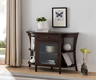 Walnut Wood Entryway Console Sofa Buffet Table With Storage Drawer, Cabinet & Shelves