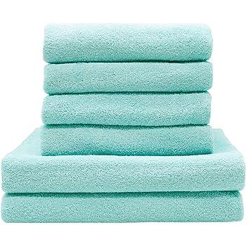 ZOLLNER Juego de Toallas de baño 6 Piezas, Verde Menta, algodón ...