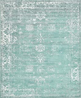 Turquoise 8' x 10' FT Canterbury Rug Modern Traditional...