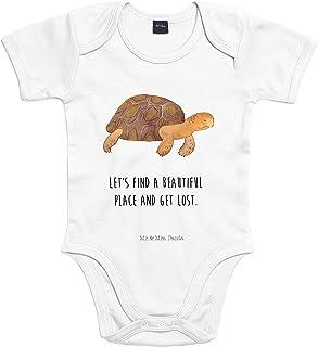 Mr. & Mrs. Panda Mr. & Mrs. Panda 0-3 Monate, Strampler, Baby Body Schildkröte marschiert mit Spruch - Farbe Transparent