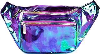 SoJourner Holographic Rave Fanny Pack - Packs for festival women, men   Cute Fashion Waist Bag Belt Bags (Transparent - Purple)