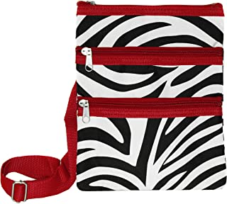 (Red Trim Zebra) - World Traveller Womens 23cm Swingpack Purse Bag, Red Trim Zebra, One Size