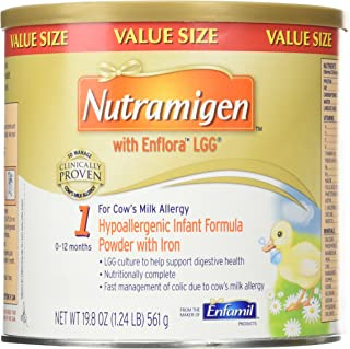 Nutramigen with Enflora LGG for Cows Milk Allergy Powder Can, for Babies 0-12 Months, 19.8 Ounce (Pack of 2)
