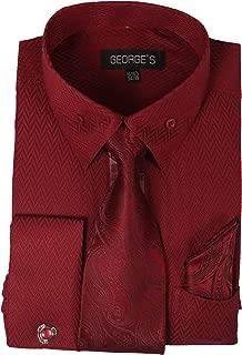 Unique Fabric Dress Shirts w/Matching Tie,Hankie,Cuff & Cufflink AH619
