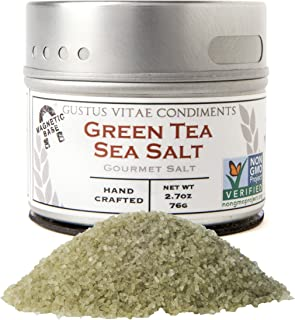 Gustus Vitae - Green Tea Sea Salt - Gourmet Infused Salt - Non GMO Verified - Artisan Seasoning - Magnetic Tin - Crafted in Small Batches - Hand Packed