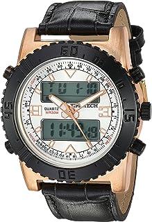 ساعة فيفا تايم تيك للرجال انالوج رقمية يابانية- كوارتز بحزام جلدي، بني، 24 (2812RBK)