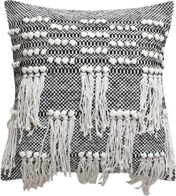 Amazon Com Thymehome Nirvana Knots Cotton Hand Woven Pillow 100 Cotton Decorative Accent Pillows 18 X18 Natural Home Kitchen