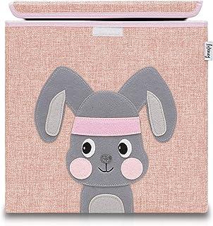 Lifeney baul juguetes infantil con tapa I una práctica caja de almacenamiento para cada cuarto de niños I baul juguetes infantil I caja juguetes I almacenaje juguetes (rosa conejo)