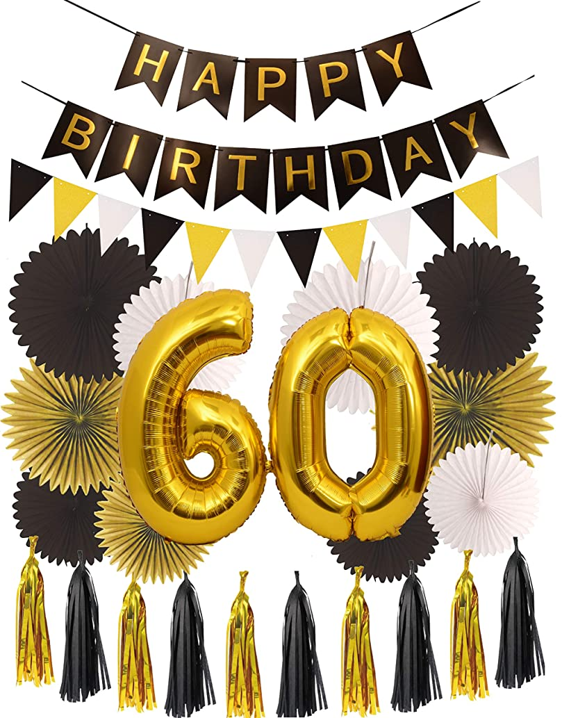 MEANT2TOBE 60th Birthday Party Decorations KIT | Happy Birthday Black Banner| 60th Gold Number Balloons Gold and Black| Number 60 | Perfect 60 Years Old Party Supplies (Wall Decoration)