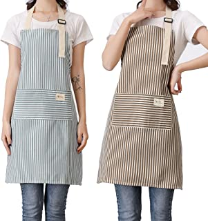 lofekea Aprons 2 Pack Adjustable Bib Aprons with 2 Pockets Cotton Linen Cooking Kitchen Chef Apron for Women and Men