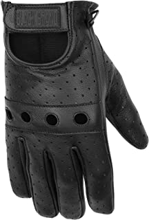 Black Brand Men's Leather Bare Knuckle Motorcycle Gloves (Black, X-Large)