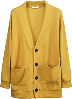 ByTheR Man's Classic Basic Loose Knit Solid Oversized Colorful Minimal Cardigan
