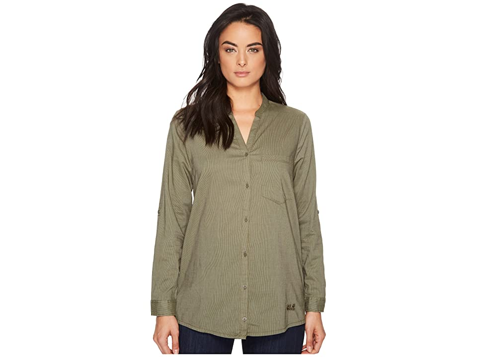 Jack Wolfskin Indian Springs Shirt (Woodland Green Stripes) Women