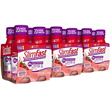 SlimFast Advanced Nutrition Meal Replacement Protein Shake, Strawberries & Cream, - Ready To Drink - 20g of Protein - 11 Fl. Oz. Bottle - 12 Count