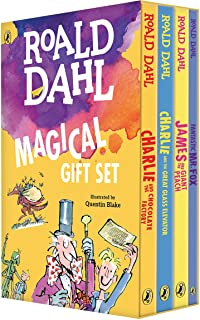 Roald Dahl Magical Gift Set (4 Books): Charlie and the Chocolate Factory, James and the Giant Peach, Fantastic Mr. Fox, Ch...